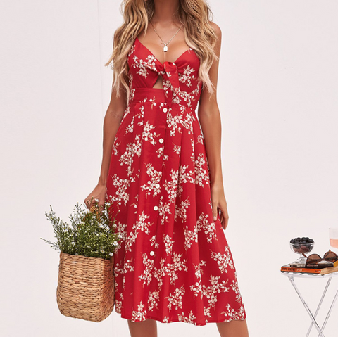 Women'S Sexy Backless Print Bowknot Dress