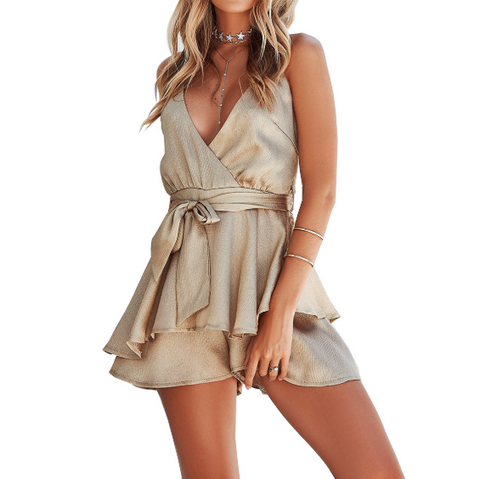 Irregular V-Neck Sling Ruffled Jumpsuit