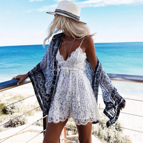 Fashion Embroidered Lace Jumpsuit