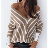 Striped V-Neck Strapless Long Sleeve Sweater