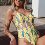 Fashion Sexy Dew Waist One-Piece Swimsuit