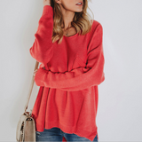 Fashion Solid Color Knitted Sweaters