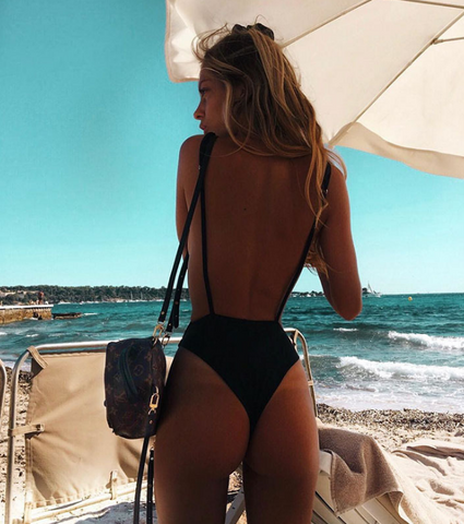 Sexy Backless Black Bikini One Piece Swimsuit