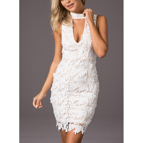 Fashion Solid Color Lace Zipper Sleeveless Dress