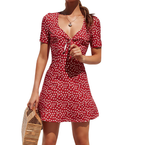 Fashion Women'S Printed Short-Sleeved Dress