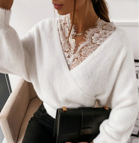 Women Lace Stitching Long Sleeve Sweater