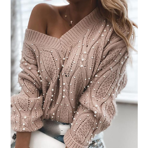 Solid Color Women'S V-Neck Long Sleeve Knitted Sweater