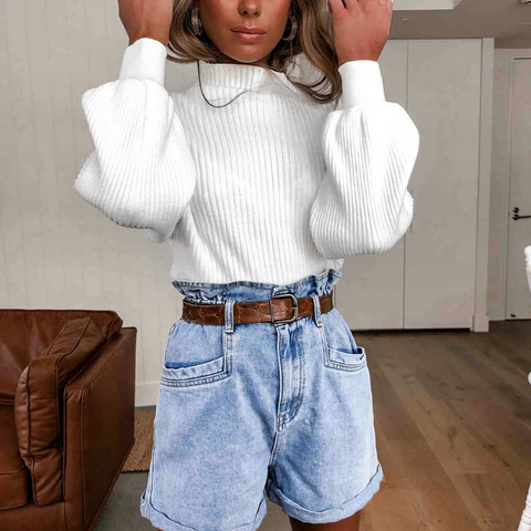 Stand Collar Fashion Solid Color Long Sleeve Top