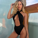Solid Color Sexy One-Piece Halter Swimsuit