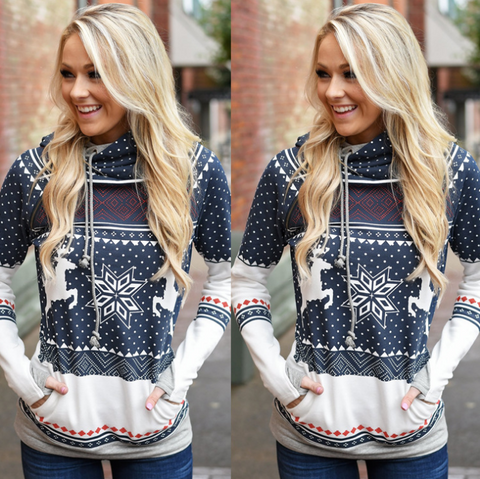 Long Sleeve Printed Pocket Hooded Sweater
