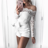 Fashion Sexy Off-Shoulder Lace Long Sleeve Jumpsuit