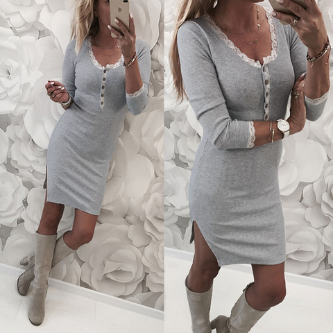 Women'S Sexy Slim Long-Sleeved Dress
