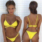 Sexy Yellow Triangle Backless Two-Piece Bikini