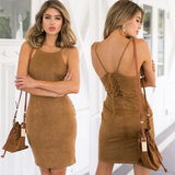 Sexy suspenders package hip dress