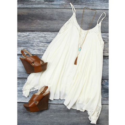 Cute Sling white lace dress
