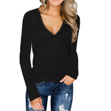 Women's Long Sleeve Button V-Neck Sexy Top