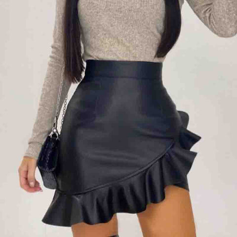 Black Irregular Ruffled Skinny PU Skirt