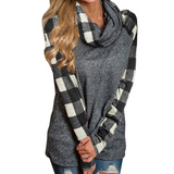 Loose Long Sleeve Plaid T-Shirt