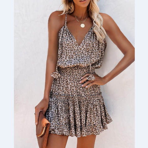 Sling Sexy Leopard Print Sleeveless Dress