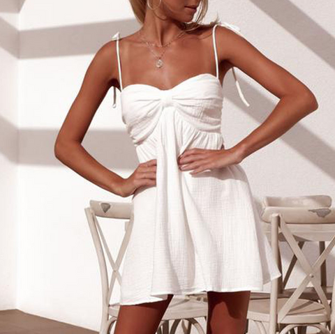 White Sling Sleeveless Dress