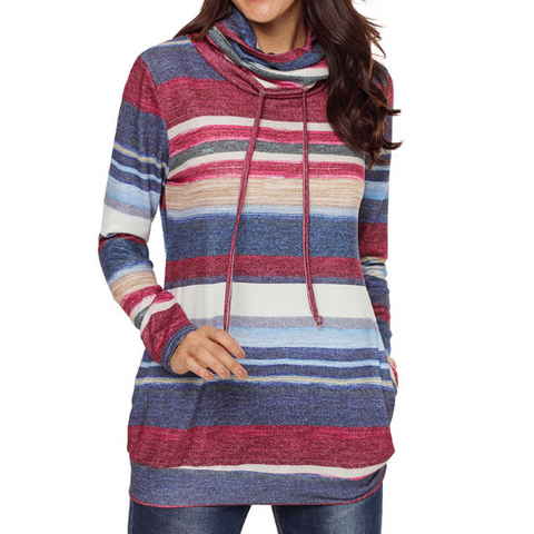 Design Cowl Neck Drawstring Color Striped Hoodie