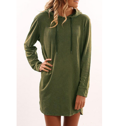 Women's Casual Hooded Long Sleeve Dress