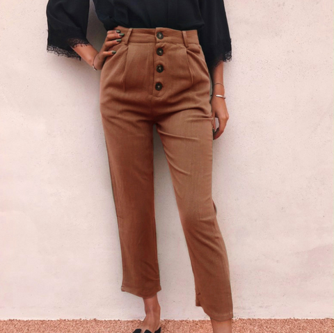 Retro Casual Solid Color Pants