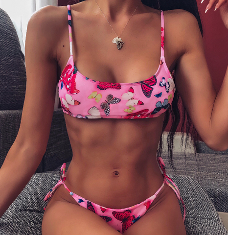 Fashion Butterfly Print Split Bikini Swimsuit