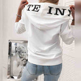 Women Leopard Print Letter Casual Long-Sleeved Hooded Sweater