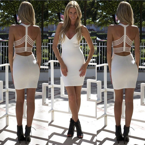 Sexy White V-Neck Halter Dress