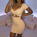 Fashion Women'S Sexy Long-Sleeved V-Neck Hip Dress