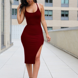 Women's Solid Color Sling Sleeveless Dress