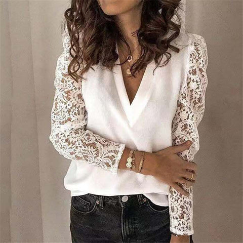 Women's Spliting Lace Long Sleeve Slim Shirt
