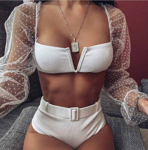V-Neck Sexy Long Sleeve High Waist Bikini Swimsuit