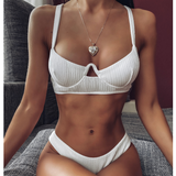 White Split Sexy Solid Color Bikini Swimsuit Set