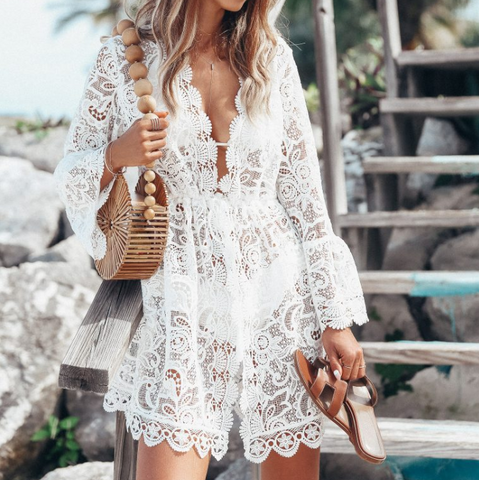 Women's Beach Sexy Lace Long Sleeve V-Neck Dress