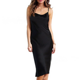 Solid Color Low-Cut Slim Sling Dress