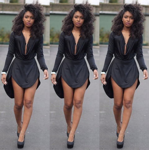 Fashion sexy V-neck long-sleeved dress