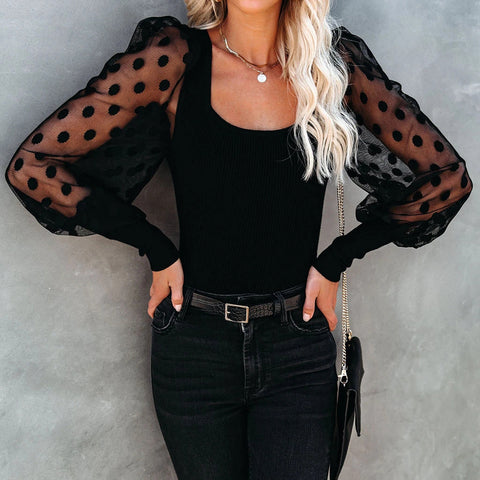 Long Sleeve Polka Dot Round Neck Puff Sleeve Sexy Lace Shirt