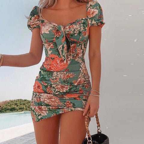 Short Sleeve High Waist Printed Puff Sleeve Dress