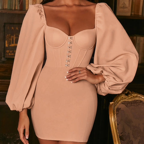 Women'S Sexy Chiffon Long Sleeve Hip Dress