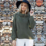 Long-sleeved knit high collar Sweater
