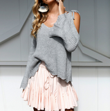 Design Cold Shoulder Flared Sleeves Sweater