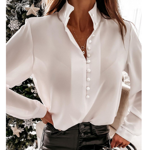 Long Sleeve Fashion White Buttoned Top Shirt