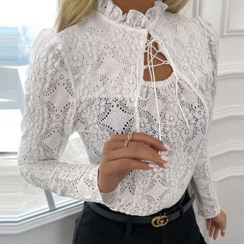 Elegant Lace Stretch Slim Shirt