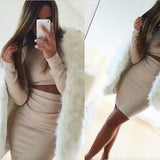Design package hip long-sleeved two-piece dress