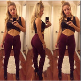 Casual wine red long pants