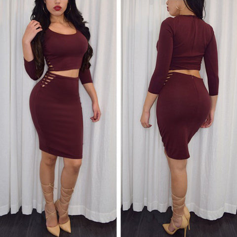 Sexy long-sleeved round neck Two-piece dress
