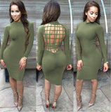 Slim round neck long-sleeved package hip dress