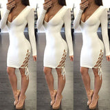 long-sleeved V-neck package hip dress